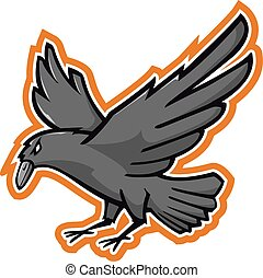 Black crown mascot - Black crow vector illustration.