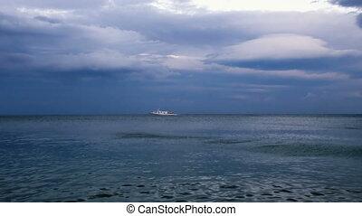 passenger ship floating on sea - white passenger ship...