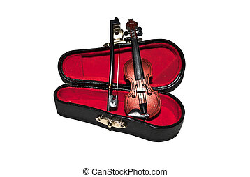 Case and violin, isolated on white background