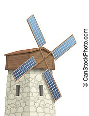 Windmill with solar panels - Windmill with wings of solar...