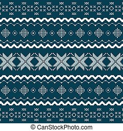 Nordic knitted seamless pattern. Vector art in Norwegian...
