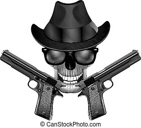 Skull with hat and pistols - Skull in a hat, sunglasses and...