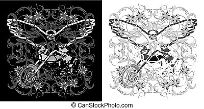 floral background with a motorcycle and an eagle   skull