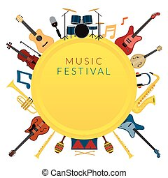 Music Instruments Objects Label Background - Festival,...