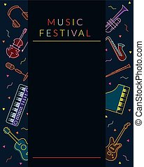 Music Instruments Objects Poster Frame, Line Design