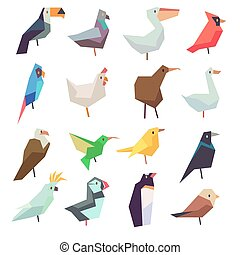 Birds in flat style vector collection. Chicken and parrot,...