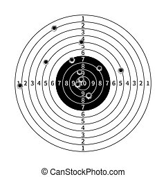 Gun target with bullet holes vector illustration. Success...