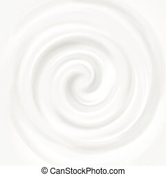 White milk, yogurt, cosmetics product swirl cream vector illustration