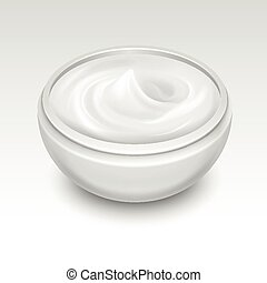 Bowl with white cream vector illustration