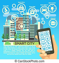Smart city vector flat concept with internet thing, business communication and technology icons