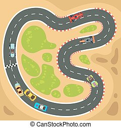 Racing computer and app game vector background with top view sport cars on race track