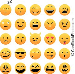 Collection of different emoji icones vector set. Vector...