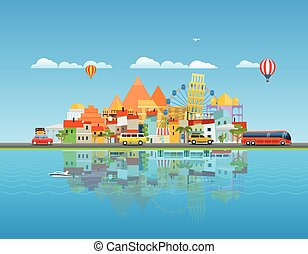 Around the world travelling concept. Asia cityscape Vector...