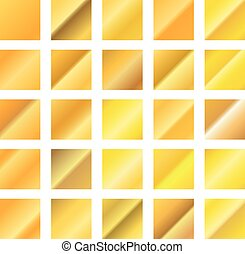 Different golden gradients set isolated on white