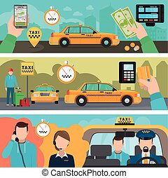 City taxi transportation service banners