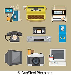 Retro gadgets icons. Portable cassette player and old pc,...