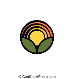 Isolated cartoon nature landscape with meadow logo. Summer sunset,sunrise, countryside panorama. Round shape natural environment logotype. Green color leaves and bright flower petals icon.