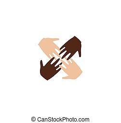Isolated abstract four brown and white skin human hands together logo. Anti racism logotype. International friendship sign. Equal people symbol. Vector illustration.