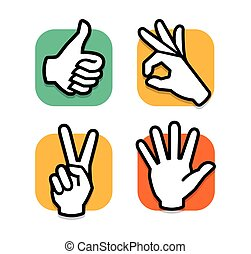 Isolated abstract colorful social network logo set. Human hands and fingers logotypes.Website buttons collection.Thumb up,ok,peace,give five signs. Like,victory, hello symbol. Vector illustration.