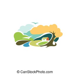 Isolated abstract colorful rural landscape with fields and hills logo. Watercolor countryside house logotype. Village icon. Natural scenery sign. Harvest time rural vector illustration.