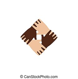 Isolated abstract dark and light skin hands together logo. Black and white people friendship logotype. Equal rights sign.International communication symbol. Help and support icon.Vector illustration.