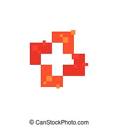 Isolated abstract red color cross logo. Medical logotype. Hospital, ambulance,clinic icon. Geometric shape mosaic tile. Religious sign. Arithmetic plus symbol. Vector cross illustration.