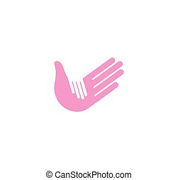 Isolated abstract blue and white adult and child hands logo....