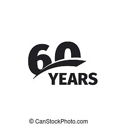 Isolated abstract black 60th anniversary logo on white...