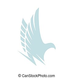 Isolated abstract blue color eagle,hawk of falcon silhouette...