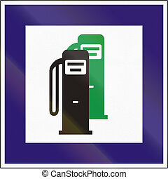 Road sign used in Hungary - Petrol station with unleaded...