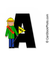 Alphabet Children School Patrol A - The letter A, in the...