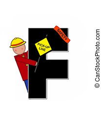 Alphabet Children School Patrol F - The letter F, in the...