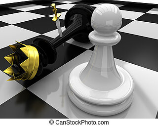 Pawn defeated King - 3D Chess. Pawn defeated King