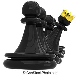 3D Black pawns - 3D Black pawn and one with a golden crown