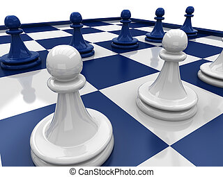 Chess pawns against each other - 3D Chess. Chess pawns...