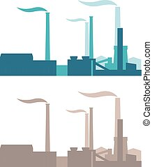 Vector industrial buildings, plants and factories