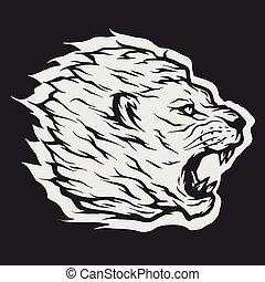 Roaring lion head. - Roaring lion head Dark background.