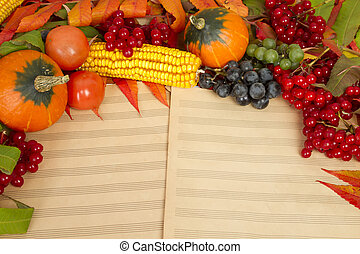 Autumn harvest of fruits and berries - The frame of the...