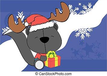 skunk santa hat cartoon background - cute baby skunk santa...