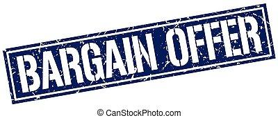 bargain offer square grunge stamp