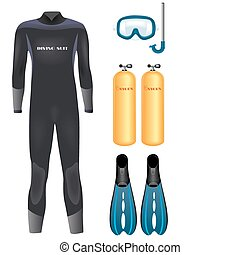Diving equipment - Set of diving equipment over white....