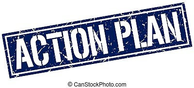 action plan square grunge stamp