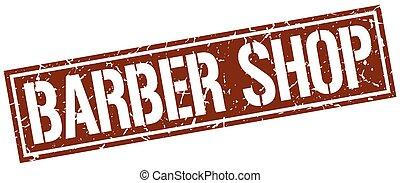 barber shop square grunge stamp