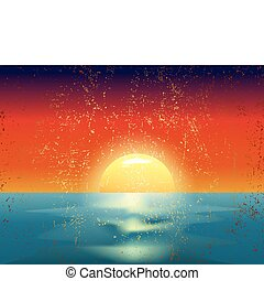vector vintage illustration of the sunset on sea