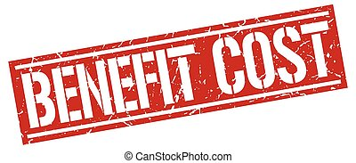 benefit cost square grunge stamp