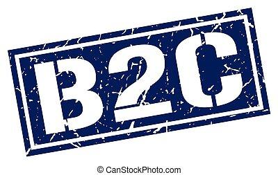 b2c square grunge stamp