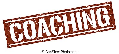 coaching square grunge stamp
