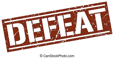 defeat square grunge stamp