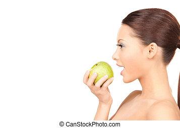 bonito, mulher, verde, maçã, jovem