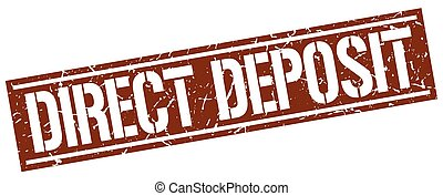 direct deposit square grunge stamp